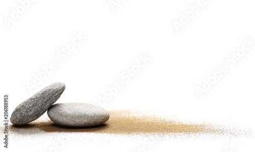 Fotomural  Sea stones in sand pile isolated on white background