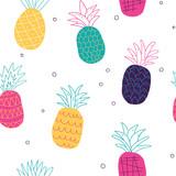 kolorowe abstrakcyjne ananasy wzór - 206196532