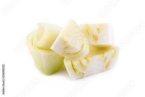Fresh organic fennel and slice isolated on a white background