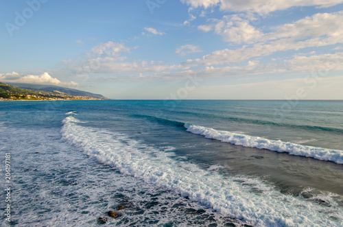 Foto op Plexiglas Kust Sea coast near the city of Diamante, the Mediterranean Sea, Calabria, Italy. Wonderful places for summer holidays