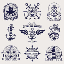 Sea And Nautical Emblems. Vect...
