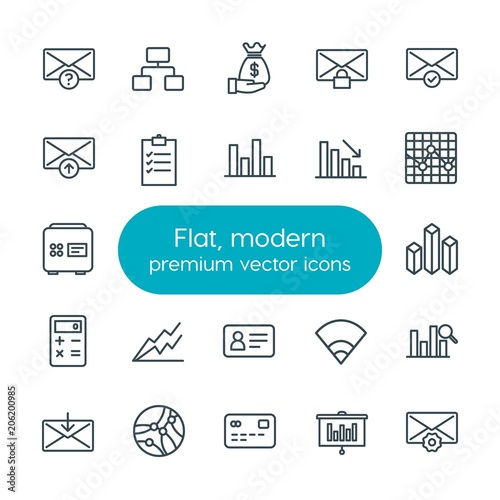Fotografia  Modern Simple Set of business, charts, mobile, email Vector outline Icons