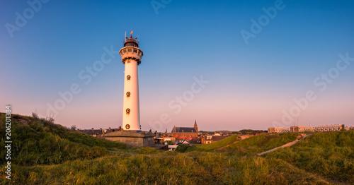 Montage in der Fensternische Leuchtturm Panoramic view on the Lighthouse of Egmond aan Zee, a coastal village in North Holland, The Netherlands