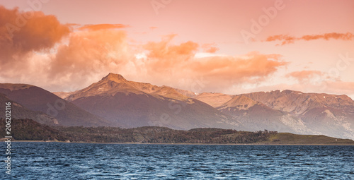 Tuinposter Zalm Beautiful landscape at sunset, Beagle Channel, Patagonia, Argentina