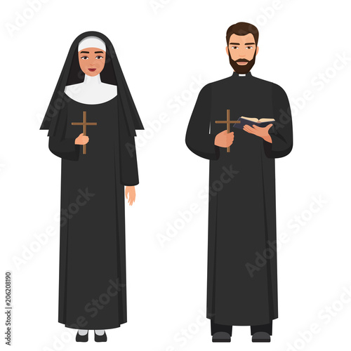 Obraz na plátně Vector Catholic priest and nun holding cross rood.