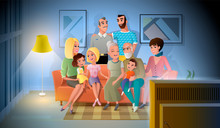 Three Generations Of Big Family Talking And Spending Time Together While Sitting On Coach In Living Room. Large Happy Family Gathered Together At Home In Evening Cartoon Vector. Family Values Concept