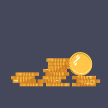 Coins Vector Icon Illustration. Stack Of Coins With Coin In Front Of It. Digital Currency. Flat Style Gold Coins Isolated.