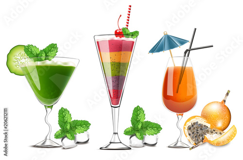 Spoed Foto op Canvas Opspattend water Exotic fruits cocktails glasses isolated Vector realistic. Tropic summer drinks detailed 3d collections