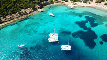 Aerial Drone Bird's Eye Photo Of Tropical Paradise Island Beach With Emerald Crystal Clear Waters