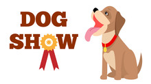 Dog Show Poster, Colorful Vector Illustration