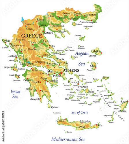 Cuadros en Lienzo  Physical map of Greece