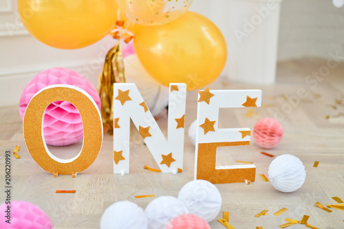 One Year Birthday Decorations For Holiday Party A Lot Of Balloons Yellow And