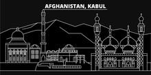 Kabul Silhouette Skyline. Afghanistan - Kabul Vector City, Afghan Linear Architecture, Buildings. Kabul Line Travel Illustration, Landmarks. Afghanistan Flat Icon, Afghan Outline Design Banner