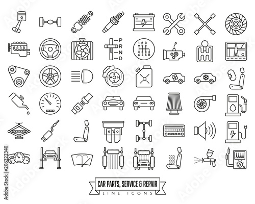 Car parts, service and repair line icon set Fototapete