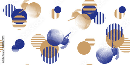 La pose en embrasure Empreintes Graphiques Abstract botanical pattern in a halftone style. Apples and circles on a white background for printing, fabric, textile, manufacturing, wallpapers.