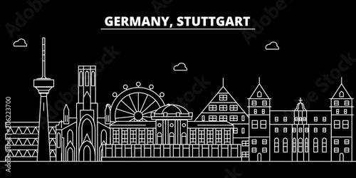 Fototapety, obrazy: Stuttgart silhouette skyline. Germany - Stuttgart vector city, german linear architecture, buildings. Stuttgart line travel illustration, landmarks. Germany flat icon, german outline design banner