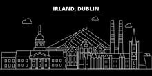 Dublin Silhouette Skyline. Ireland - Dublin Vector City, Irish Linear Architecture, Buildings. Dublin Line Travel Illustration, Landmarks. Ireland Flat Icon, Irish Outline Design Banner
