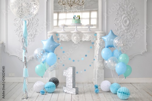 One Year Birthday Decorations A Lot Of Balloons Blue And White Colors Stars