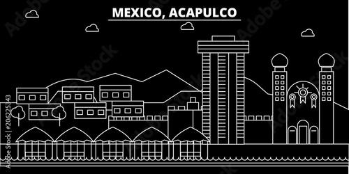 Fotografie, Obraz  Acapulco silhouette skyline