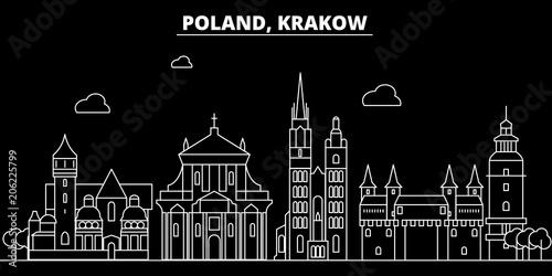 Fototapeta Krakow silhouette skyline. poland - Krakow vector city, polish linear architecture, buildings. Krakow line travel illustration, landmarks. poland flat icon, polish outline design banner obraz
