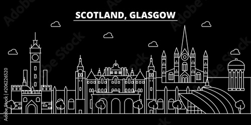 Glasgow silhouette skyline. Scotland - Glasgow vector city, scottish linear architecture, buildings. Glasgow line travel illustration, landmarks. Scotland flat icon, scottish outline design banner