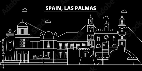Las Palmas silhouette skyline. Spain - Las Palmas vector city, spanish linear architecture, buildings. Las Palmas line travel illustration, landmarks. Spain flat icon, spanish outline design banner