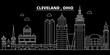 Cleveland silhouette skyline. USA - Cleveland vector city, american linear architecture, buildings. Cleveland line travel illustration, landmarks. USA flat icons, american outline design banner
