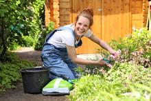 Hübsche Rothaarige Frau Bei Der Gartenarbeit Lacht