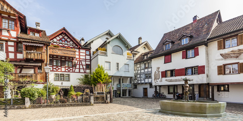 Switzerland, Thurgau, Arbon, Old town, Fish market square, historical houses