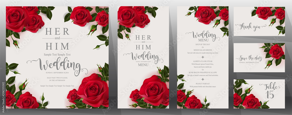 Fototapety, obrazy:  Wedding Invitation card templates with realistic of beautiful  flower on background color.