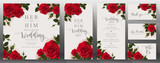 Fototapeta Kwiaty -  Wedding Invitation card templates with realistic of beautiful  flower on background color.