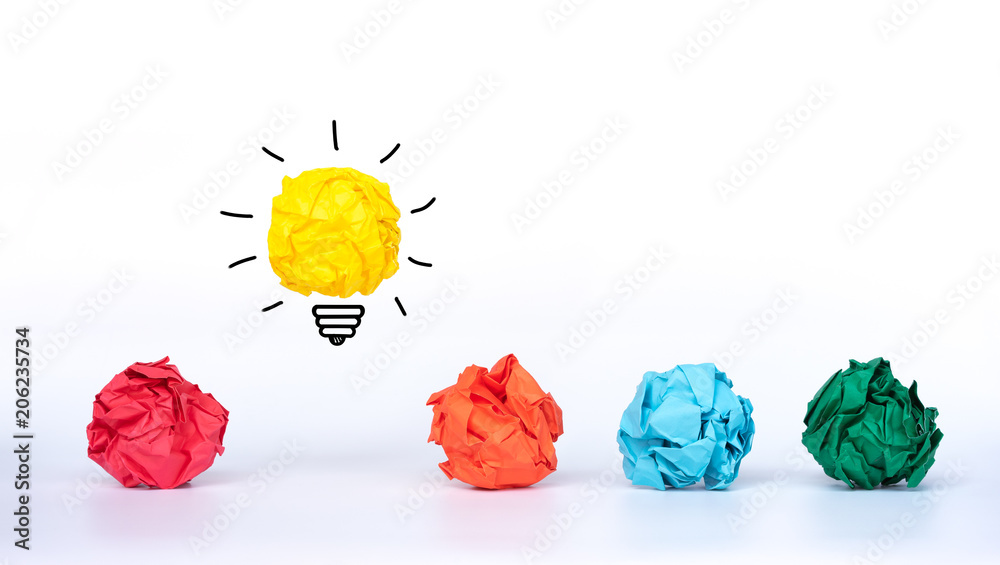 Fototapety, obrazy: Creative idea, Inspiration, New idea and Innovation concept. Crumpled Paper light bulb with colorful crumpled paper.