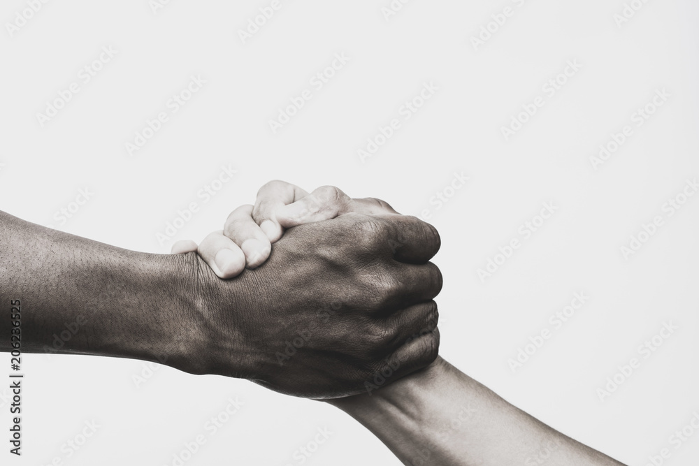 Fototapety, obrazy: Helping hand, Rescue, Black and white image.