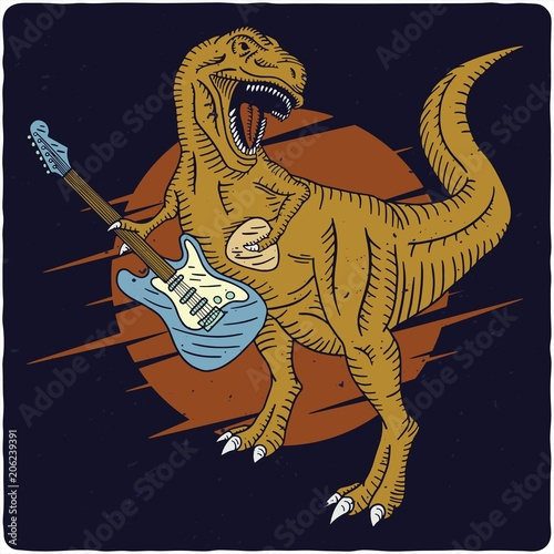 Photo  Surfing theme t-shirt or poster design with tyrannosaurus playing on electric gu
