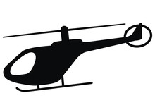 Helicopter, Black Silhouette, Vector Icon, Single Object