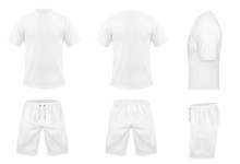 Vector Realistic Set Of White T-shirts With Short Sleeves And Shorts, Sportswear, Sport Uniform For Football Or Rugby Isolated On Background. Mockup For Clothes Design, Front, Rear And Side View