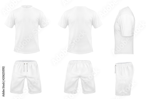 Valokuva Vector realistic set of white t-shirts with short sleeves and shorts, sportswear, sport uniform for football or rugby isolated on background