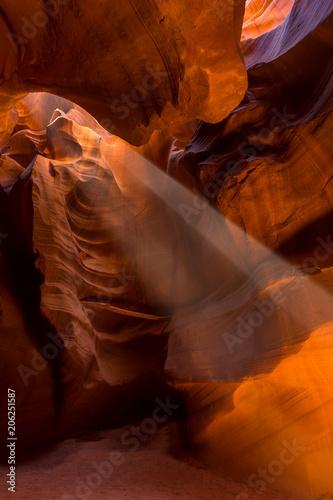 Foto op Canvas Baksteen Upper Antelope Slot Canyon showing a light beam into the canyon.