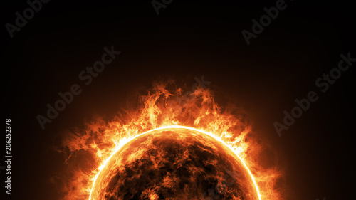 a big sun surface with solar flares and copy space on black background, global warming concept Fototapeta