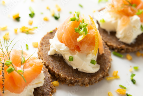 Fotobehang Voorgerecht Norwegian Smoked Salmon Canapés with Cream Cheese