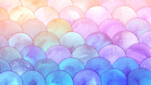 Magic Mermaid Scales Watercolor Fish Squame Background. Bright Summer Pink And Blue Sea Pattern With Reptilian Scales Abstract