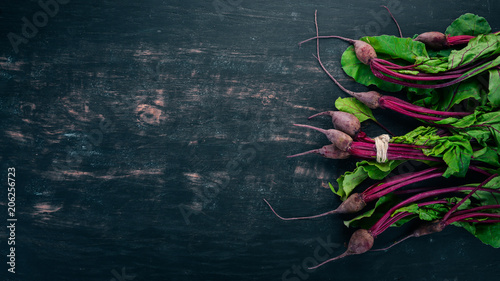 Fotografie, Obraz  Fresh beetroot with green leaves