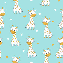 Seamless Pattern With Cute Cartoon Giraffe. Vector Childish Background.