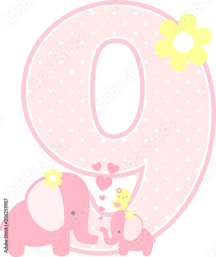 Elephant And Little Baby Isolated On White Can Be Used For Mothers Day Card Girl Birth Announcements Nursery Decoration Party Theme