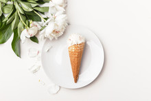Flatlay Of Sweet Cones Of Crea...