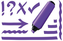 Purple Fluorescent Marker Pen. Bright Violet Highlighter Plus Strokes And Signs Like Call Sign, Question Mark, Tick Mark And Arrow. Isolated Vector Illustration On White Background.