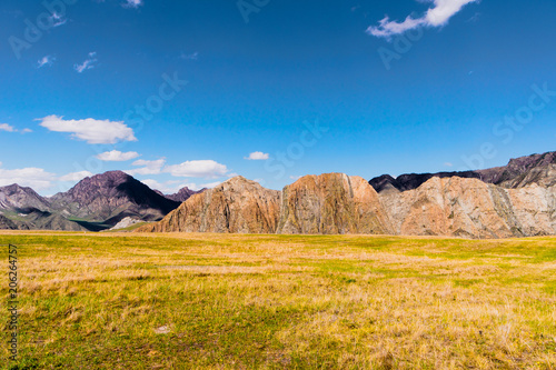 Foto op Plexiglas Honing incredible landscape of Altai mountain valley with rock