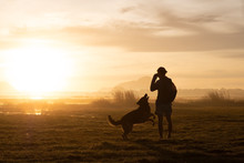 Silhouette Of Woman And Dog Walking On Sunset Or Sunrise Background.