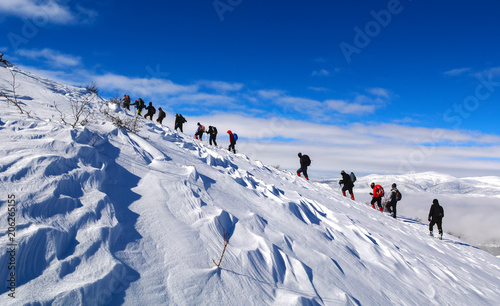 Vászonkép challenging winter walking event with crowded mountaineering group