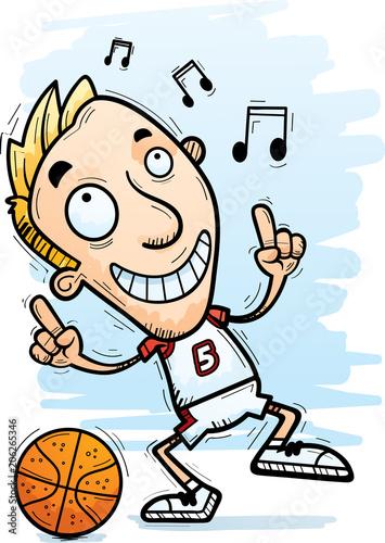 Fotobehang Cartoon draw Cartoon Basketball Player Dancing